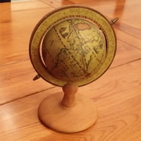 Vintage Mini Old World Style Globe on Wood Stand Great Traveling Library Den Study Classroom Decor Gift for Teacher