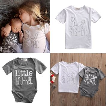 Pudcoco Big Sister Little Brother Match White T-shirt Graphic tees Gray Bodysuit Cotton Summer