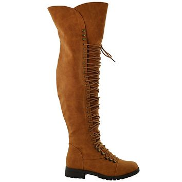Womens Over the Knee Lace Up Combat Boots Camel