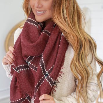 Chilly Morning Scarf - Burgundy