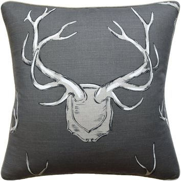 Antlers Grey Pillow