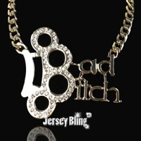 BAD BITCH Iced Out Rhianna Style HIP HOP BLING Knuckle Pendant Necklace by Jersey Bling®