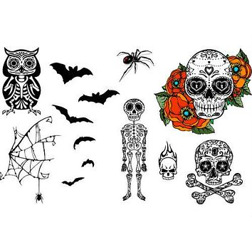Skull & Cross Bones, Skeleton, Bats, Sugar Skull, Owl Tattoo Set
