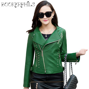 2017 New Spring Women Faux Leather Jacket Fashion Women Coat Female Leather Jacket Zipper Rivet Washed PU Leather Jacket Brand