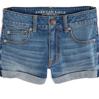 AEO 's Factory Hi-rise Denim Shortie (Medium Wash)