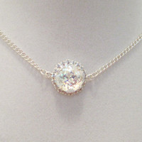 SWAROVSKI CRYSTAL NECKLACE, bridal, single stone, halo crystal, designer inspired, diamond crystal, white patina