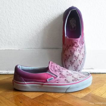 Flamingo pink ombre Vans slip on sneakers, upcycled vintage skate shoes, size eu 39 (U