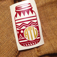 Mason jar aztec print Monogram car decal initials chevron monogram border chevron sticker car monogram sticker chevron monogram car decal sc