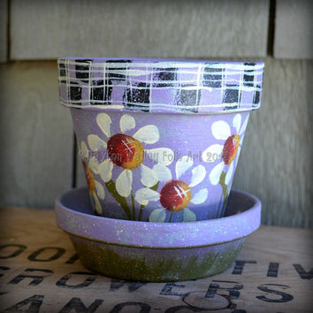 Daisy Flower Pot Hand Painted Terracotta Clay Planter Whimsical Garden Decor