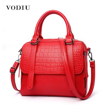 Women Bags Leather Tote Over Shoulder Handbags Sling Messenger Crossbody Crocodile Red 2017 Hot Fashion Brand Female Handbags