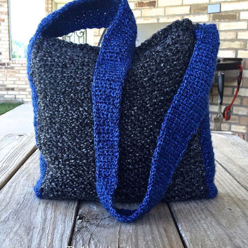 Shoulder Bag Purse for Women, Crochet & Knit Handbag in Charcoal and Sapphire Blue, Knit Purse, Lined Boho Slouch Bag, Gift Idea, #H0024