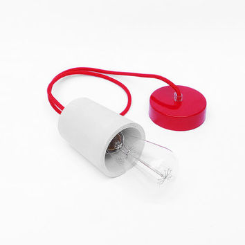 Concrete Pendant Lamp with Concrete Lamp Holder and Red Textile Cable