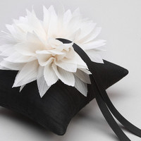 Black ring pillow, black and white, flower ring bearer pillow, flower ring pillow - Lydia