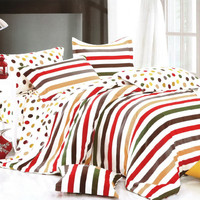 Blancho Bedding - [Rainbow Dots & Stripe] Luxury 4PC Comforter Set Combo 300GSM (Twin Size): [Rainbow Dots & Stripe] Luxury 4PC Comforter Set Combo 300GSM (Twin Size)