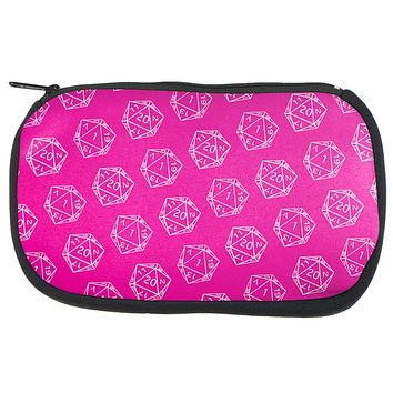 D20 Gamer Critical Hit and Fumble Pink Pattern Dice Game Bag