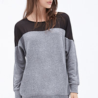Sheer Insert Heathered Sweater