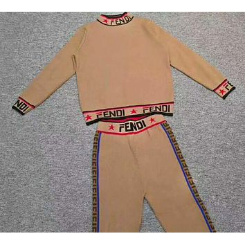 Fendi Autumn And Winter New Fashion More Letter Print String Mark Leisure Sports Long Sleeve Top And Pants Two Piece Suit Brown
