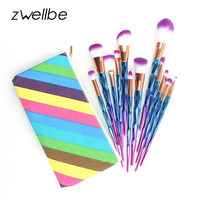 zwellbe 7/12Pcs Diamond Shape Makeup Brushes Set Beauty Cosmetic Eyeshadow Lip Powder Face Pinceis Tool Kabuki Brush Kits Pincel
