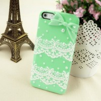 Handmade Mint Green Lace and Bowtie Case for iPhone 5