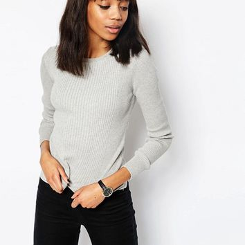 ASOS Jumper In Rib With Crew Neck at asos.com