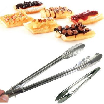 9 Inch Stainless Steel Food Tong Practical Kitchen Tools Set Heat Bread Tong Salad BBQ Cooking Food Serving Utensil Tongs K0130