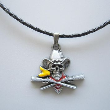 Skull Pirate Cowboy Western Metal Charm Pendant Leather Necklace Neck Tie