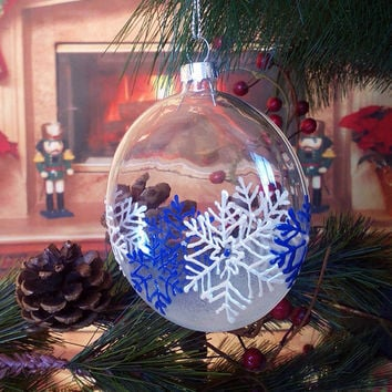 PERSONALIZED Hand painted glass ball flat Christmas tree ornament  White Blue Winter Snowflakes