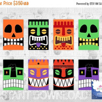 Sale 50% OFF Halloween Gift Tags, scary faces rectangular hang gift tag,  PDF file, printable, instant download