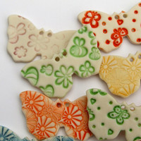 Handmade Ceramic Butterfly Buttons - Childrens buttons - Baby Buttons