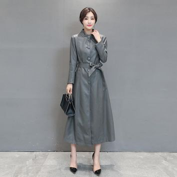New Fashion Autumn PU Leather Jackets Sashes Street Style Plus Size Single Breast Ladies' Outwear Trench Coat Jacket With Belted