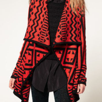 Red Long Sleeve Lapel Geometric Print Sweater