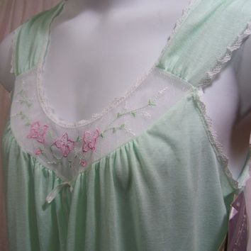Gloria Vanderbilt, Waltz Nightgown, Mint Green, Cotton Blend, Quintura, Size M Medium, Resort Cruise, Hospital Maternity