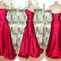 Vintage 90s Retro 30s Crimson Red Liquid Satin Bias Harlow Gown Strapless Formal Dress Flapper Gatsby Jessica McClintock