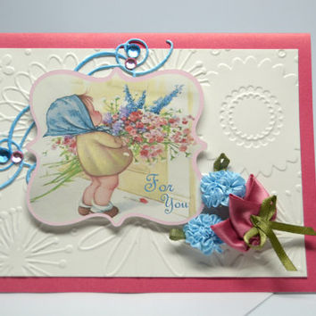 For You Card / Blank Note Card / Flower Card / Handcrafted Greeting Card