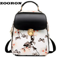 ZOORON Floral Printing Backpack  Hasp Versatile Fashion Backpack Leather Bags Women Backpack Women