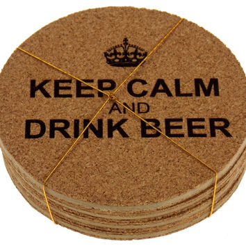 Beer Coasters Set of 4 Keep Calm Drink Beer Cork Wood Laser Engraved Man Cave