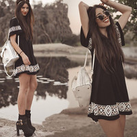 Patchwork Summer Women's Fashion Black Short Sleeve Totem One Piece Dress [8894746183]
