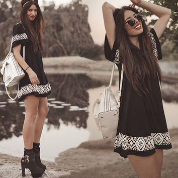 Patchwork Summer Women's Fashion Black Short Sleeve Totem One Piece Dress [8894722247]
