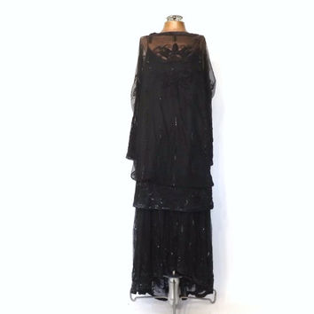 Judith Ann Plus Size Large Vintage 1970s Abstract Art Beaded Dress Black Beaded Dress 1920s Dress Great Gatsby Flapper 1930s Art Deco Gown