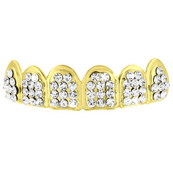 Lab Diamond Yellow Gold Finish Top Teeth Grillz