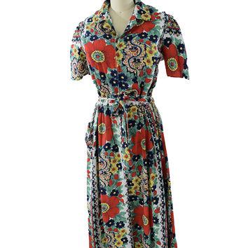 40s Floral Print Seersucker Hostess Gown Maxi Dress-XL