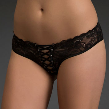Grommets & Lace Thong Panty