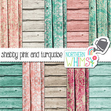 Wood Digital Paper – pink and turquoise rustic wood papers for digital scrapbooking – turquoise and pink wood paper - commercial use