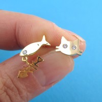 Kitty Cat and Fish Bone Shaped Stud Earrings in Gold