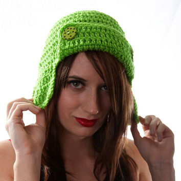 Crochet Aviator Ear Flap Bomber Hat in Lime Green Medium