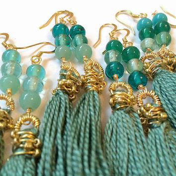 Sage Green Tassel Earrings Green Fringe Earrings Green Tassel Boho Fringe Earrings Boho Earrings Tassle Earrings Statement Jewelry (E190A-D)