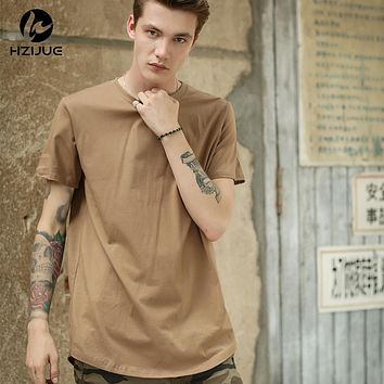 HZIJUE Curved Hem Hip Hop T-shirt Men Urban Kpop Extended T shirt Plain Longline Men Tee Shirts Male Clothes Justin Bieber Kanye