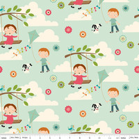 Fly A Kite Fabric Aqua With Kids, Dogs, Clouds And More From Riley Blake Designs