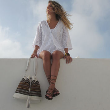 White - Brown shoulder bag handmade of white leather and traditional woven fabric in brown Crete-SB 02W NEW