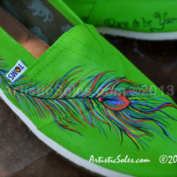Pretty as a Peacock Custom TOMS by ArtisticSoles on Etsy